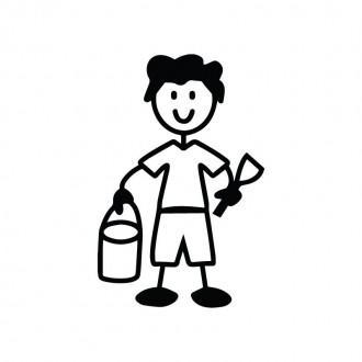 Bambino paletta e secchiello - adesivi famiglia