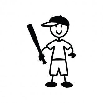 Bambino con mazza da baseball - adesivi famiglia