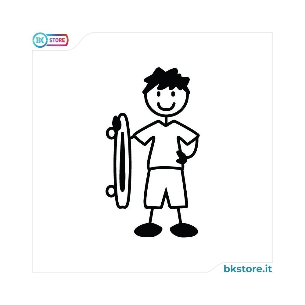 Ragazzo con skateboard - adesivi famiglia
