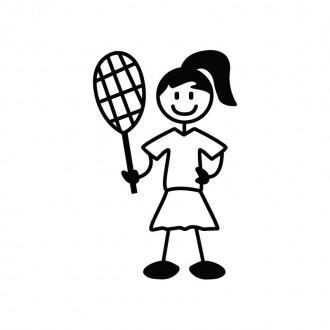 Ragazza tennista- Famiglia adesiva