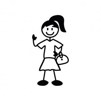 Ragazza con borsa - adesivi famiglia