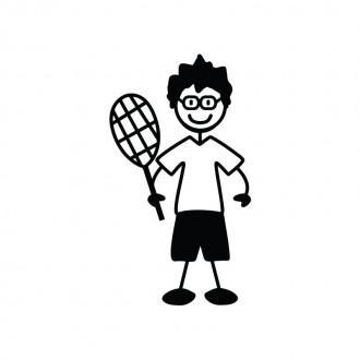 Papà tennista con occhiali - Famiglia adesiva