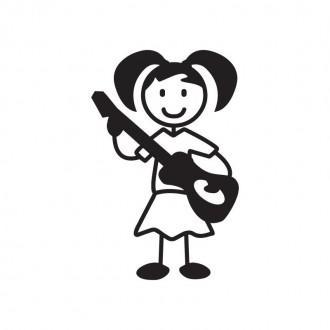 Bimba con chitarra - Famiglia adesiva
