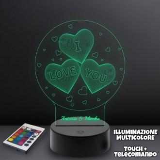 Lampada plexiglass I love you, personalizzata con nomi