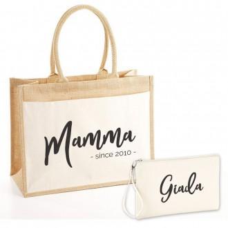Borsa shopper pochette mamma personalizzata