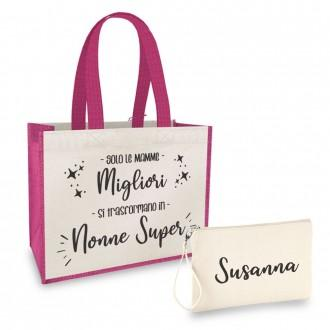 borsa shopper pochette personalizzata mamma e nonna