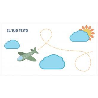 Borraccia da bambini con aeroplano e nuvole