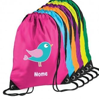 Zainetto con disegno uccellino e nome personalizzato