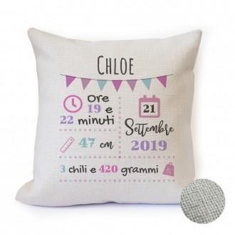 cuscino nascita regalo personalizzato