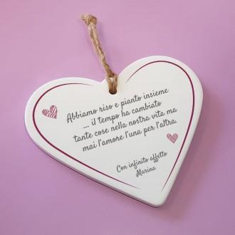 cuore ceramica personalizzato frase d'affetto