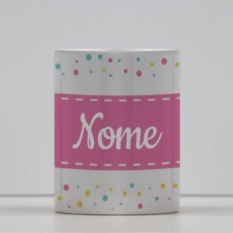 Tazza con striscia rosa personalizzabile con nome