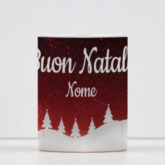 Tazza design natalizio Buon Natale personalizzata con nome
