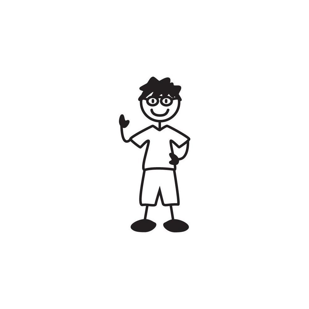 Bimbo con occhiali - adesivi famiglia