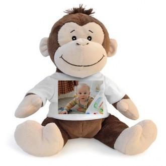 Scimmia peluche personalizzata con foto o scritta sulla maglietta
