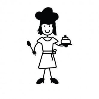 Mamma cuoca con torta - Famiglia adesiva