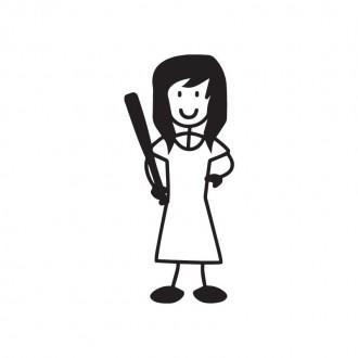 Mamma con bastone da baseball - adesivi famiglia